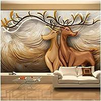 カスタム壁画 3D mural wallpaper wall sticker 鹿の動物 リビングルームテレビソファの背景の壁の装-120x100cm/47x39inch