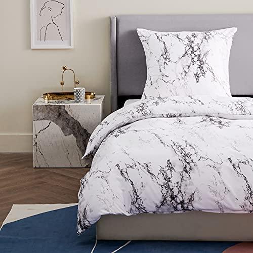 Bedsure Bettwäsche 135X200 Set mikrofaser - weiß Bettbezug mit Marmor Muster, weiche Flauschige Bettdeckenbezug 2 teilig mit Reißverschluss und 1 mal 80x80cm Kissenbezug