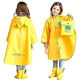 Poncho Pluie à Capuche Bébé Fille Garçon Dessin Animal Mignon Veste imperméable Manteau de pluie Enfant Petites Oreilles - Jaune - M(3-5ans:90CM - 105CM)