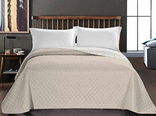 DecoKing 32985 Tagesdecke 170 x 210 cm weiß Hellbeige Bettüberwurf zweiseitig Steppung pflegeleicht Axel
