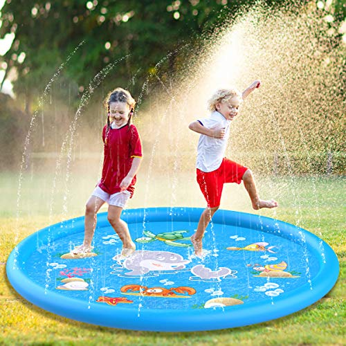 "Aitey Splash Pad, 68"" Kids Splash & Sprinkler Pad for Outside Water Play Mat Sprinkle pad ,Outdoor Water Toys for Kids Toddlers Babies"