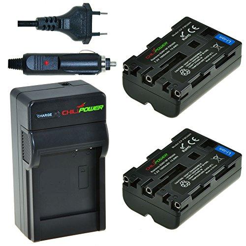 ChiliPower NP-FM500H - Juego de 2 baterías y Cargador para Sony Alpha...