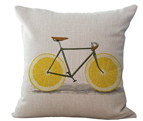 "Miracle Dec Lemon Bicycle Pattern Linen Polyester Square Sofa Throw Pillow Covers Cushion Cases (17""x17"", Lemon&Linen)"