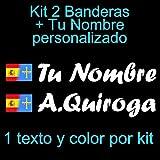 Vinilin - Pegatina Vinilo Bandera España/Asturias + tu Nombre - Bici, Casco, Pala De Padel, Monopatin, Coche, etc. Kit de Dos Vinilos (Blanco)