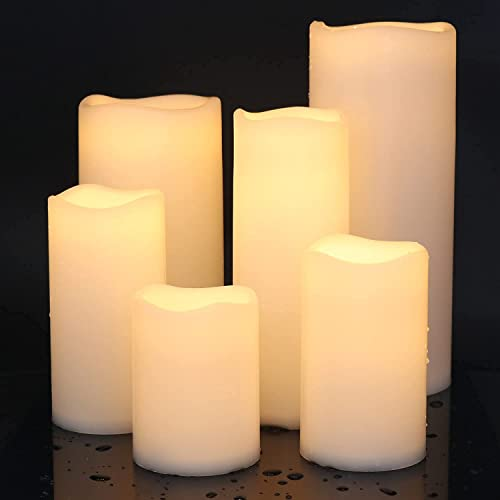 2021 Eldnacele Waterproof Flameless Flickering Candles with Timer, Indoor Outdoor White LED Plastic Battery Operated Pillar popular Candles Pack of 4 /3 for outlet online sale Wedding Festival White outlet sale