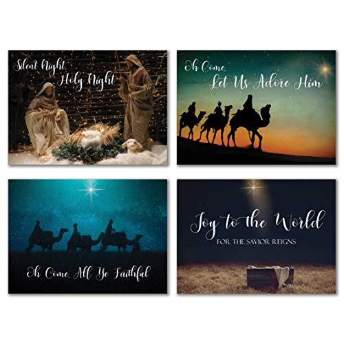 Scenes from Scripture Religious Christmas Cards with Bible Verses - Pack of 24