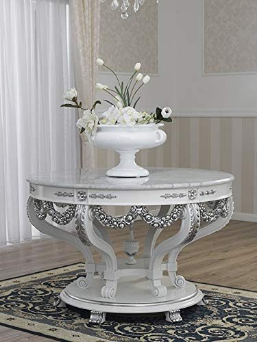 SIMONE GUARRACINO LUXURY DESIGN Table Imperiale Style Baroque Moderne Blanc laqué et Feuille Argent marbre Blanc Carrara