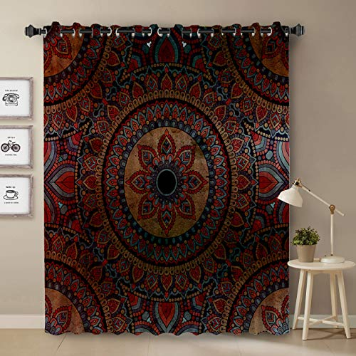 Indian Mandala Curtain, Mysterious Mandala Floral Pattern Curtain for Bedroom, Room Darkening Blackout Curtain for Living Room Thermal Insulated with Grommet Window Curtain, 52 by 72 Inch