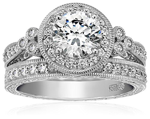 Platinum-Plated Sterling Silver Antique Rings set made with Swarovski Zirconia, Size 7