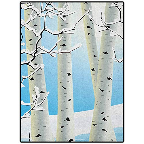 Winter Abstract Premium Rug for Bedroom Baby Room Decor Carpet Snow Covered Birch Tree Seasonal Illustration of a Forest Woodland Design Pale Blue Ivory Black 90' x 61'
