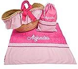 Capazo Mimbre Toalla de Playa Bolsa bañadores Personalizado para niña (Fucsia/Rosa, 3 Piezas Personalizado)