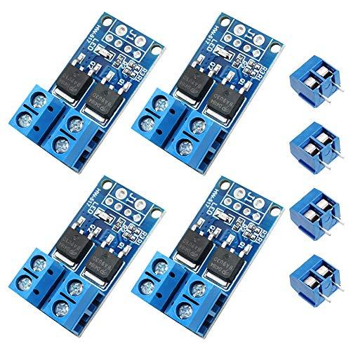 WayinTop 4 x Módulo de controlador Mosfet FET PWM de Alta Potencia Dual 0-20KHz Motor Control Brillo de la Lámpara Control DC 5V-36V 15A 400W + 4 x 2Pines PCB Bloque de Terminal