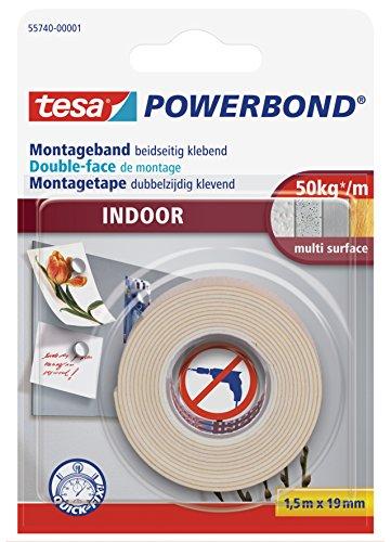 tesa Powerbond INDOOR - Doppelseitiges Montageband für den Innenbereich - beidseitig stark klebend, zur permanenten Befestigung - 1,5 m