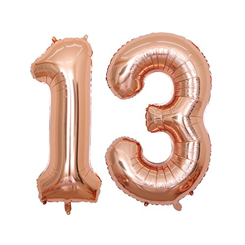 BALONAR 40 Inch Jumbo 13rd Rose Gold Foil Balloons for Birthday Party Supplies,Anniversary Events Decorations and Graduation Decorations