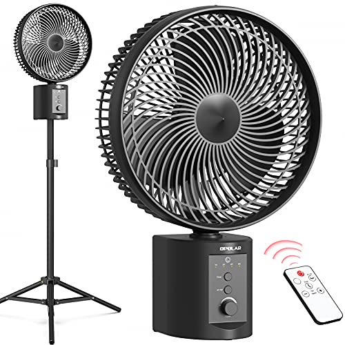 """OPOLAR 20000mAh Battery Operated Pedestal Fan w/Remote, Oscillating and Timer, 10"""" Rechargeable Desk Fan, 50Hrs Working Time, Adjustable Height and Tilting, Standing Fan for Bedroom, Camping, Outdoor"""