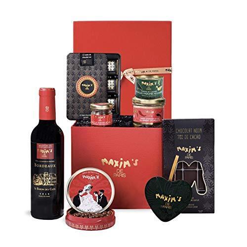 """Maxim's de Paris   Panier Gourmand Sucré Salé """"instant Gourmet"""" - 8 cadeaux en 1   Carrés de Chocolat - Perles de Chocolat - Tomates Séchées - Petits Beurre - Terrine de Campagne - Vin Bordeaux Rouge"""