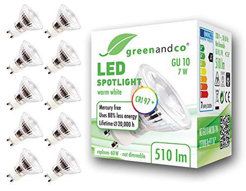 10x greenandco® CRI97+ 2700K 36° LED Spot ersetzt 60 Watt GU10 Halogenstrahler, 7W 510 Lumen warmweiß SMD LED Strahler 230V AC nicht dimmbar, flimmerfrei, 2 Jahre Garantie