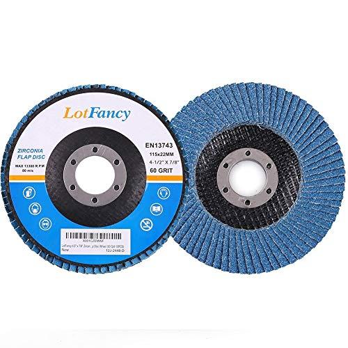 60 Grit Sanding Flap Discs by LotFancy, 4.5 Inch Zirconia Alumina Abrasive Sanding Discs Grinding Wheel, Pack of 10, T27