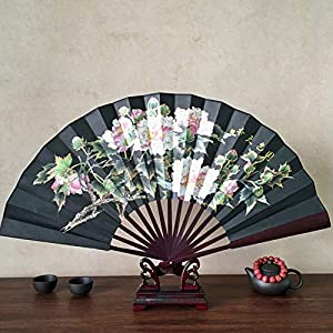 THONTRON folding dance kids chinese white dancing party favors home or bonsai pool float rose foam flower m lotus flower pattern silk bamboo folding hand fans pocket fan chinese style