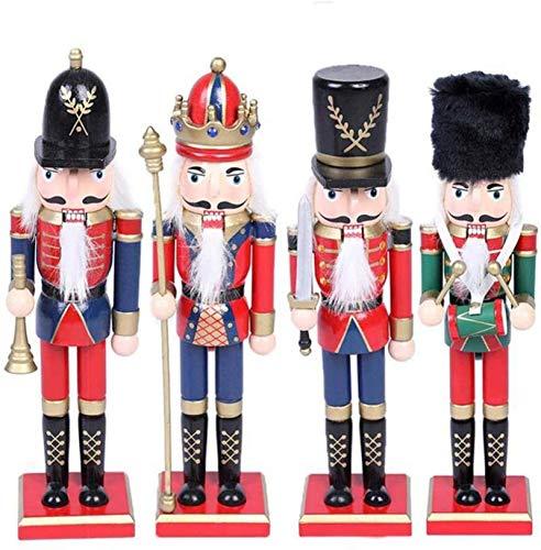 GRXIN 4 Uds Muñeco Cascanueces De Madera Soldado Figuras En Miniatura Artesanía Vintage Marioneta Año Nuevo Adornos Navideños Decoración del Hogar