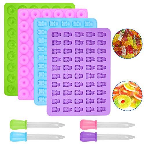 SENHAI 4 paquetes Moldes de silicona para caramelos y moldes pequeños para donuts, 50 cavidades de osito de goma para caramelos,48 cavidades para gomitas, bandeja para cubitos de hielo, gelatina