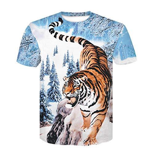 XJWDTX Printemps Et Été Col Rond T-Shirt À Manches Courtes pour Hommes T-Shirt À Motifs De Tigres 3D De Grande Taille T-Shirt pour Hommes