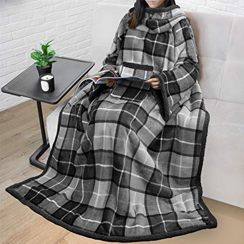 PAVILIA Sherpa Fleece Wearable Blanket with Sleeves for Adult Women Men | Blanket with Arms Pocket Throw for Couch Sofa Home | Cozy Warm Super Soft Plush Lightweight Plaid Gray