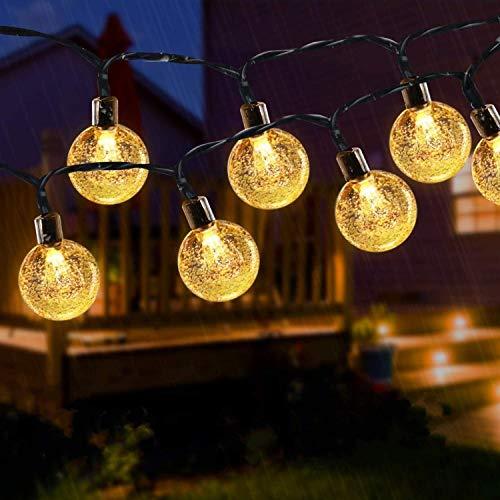 Cadena de luz solar al aire libre 24 pies 50 LED Luz solar para jardín Luz de decoración de bola de vidrio impermeable para la fiesta familiar en el jardín de Navidad (amarillo cálido)
