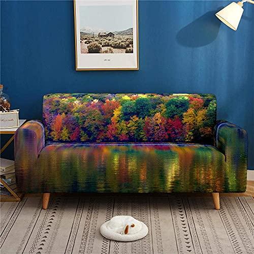 Sofa Schonbezug Stretch Elastischer Stoff 3D Forest River Printed Chair Loveseat Universal Multicolor Couch Sofa Sofabezüge 1 Sitzer- Polyester Spandex Sofa Schonbezüge Möbelschutzhülle