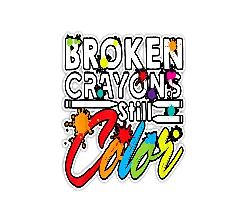 Sticker Broken Crayons Still Color 3'×4' Decals for Laptop Window Car Bumper Helmet Water Bottle (3 PCs/Pack)