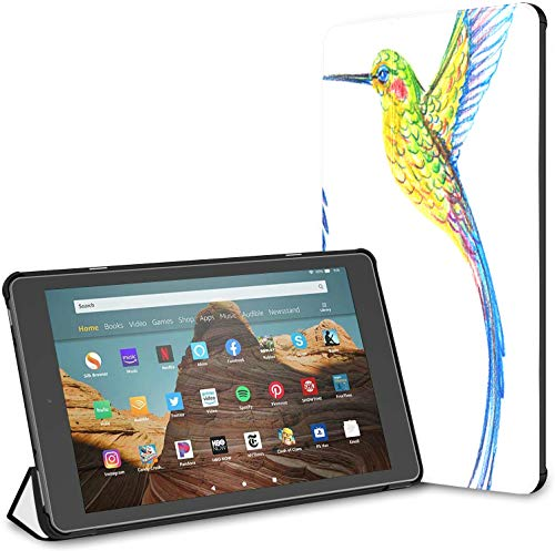 Case for All-New Amazon Fire Hd 10 Tablet (7th and 9th Generation,2017/2019 Release),Slim Folding Stand Cover with Auto Wake/Sleep for 10.1 Inch Tablet, Set Small Bird Hummingbird
