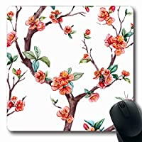 コンピューター用マウスパッド滑りを防ぎ傷を防ぐオリエンタルピンク水彩花柄桜開花木花自然赤ブランチデザイン春楕円形滑り止め長方形ゲーミングマウスパッド滑りを防ぎ傷を防ぐ