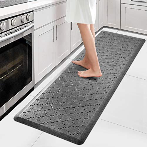 """WiseLife Kitchen Mat Cushioned Anti Fatigue Floor Mat,17.3""""x59"""", Thick Non Slip Waterproof Kitchen Rugs and Mats,Heavy Duty PVC Foam Standing Mat for Kitchen,Floor,Home,Office,Desk,Sink,Laundry, Grey"""