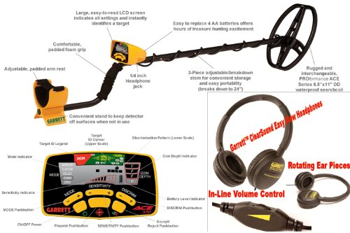 Detector de metales GARRETT EuroAce. Incluye: mochila, Prot plato, Prot lluvia, auriculares, gorra y Pico/pala plegable