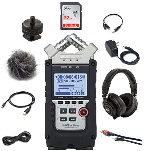 Zoom H4n Pro Handy Recorder with Zoom APH-4nPro Accessory Pack, Headphones, SDHC 32GB Card, Batteries, Stereo Cables