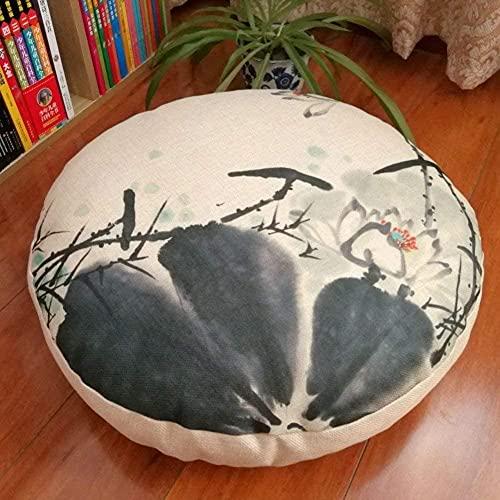 LILAODA Almohada redonda desmontable para meditación, suave, engrosada, japonesa, de lino, para sofá, cojín de meditación, cojín de 45 cm