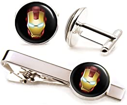 SharedImagination Ironman Cufflinks, Iron Man Tie Clip, Avengers Jewelry, Age of Ultron Tack, Superhero Wedding Party Jewelry Gifts, Groomsmen