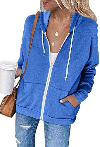 Uusollecy - Sudadera con capucha para mujer, manga larga, con cremallera completa, estilo casual A-azul oscuro. S