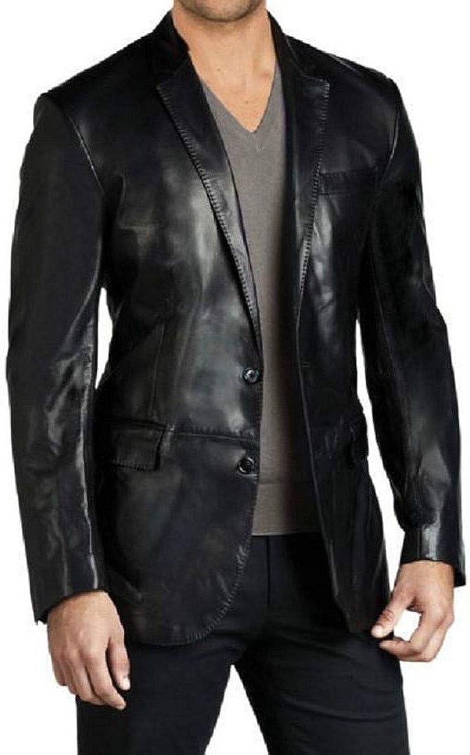 New Fashion Style Men's Sport Coat Jacket Leather Slim Fit Casual Blazer Jacket (Black)
