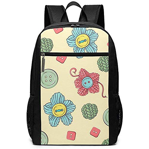 Yuanmeiju Button and Flower Unisex Custom Shoulder Bags,Adult Student Double Zipper Closure Casual Daypack