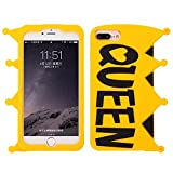 King Queen iPhone 7Plus Case,Awin 3D Fashion King Queen Yellow Soft Rubber Silicone Phone Case With Metal Chain (Queen)