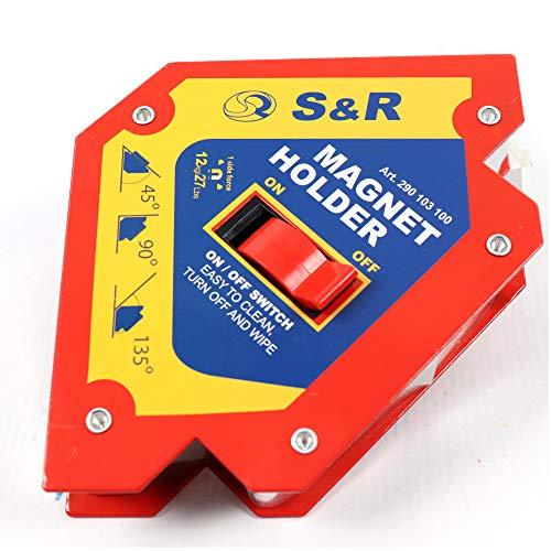 S&R Escuadras magnéticas para soldadura - imanes angulares 45°   90°   135° (120 mm, 12kg fuerza lado, CON interruptor)