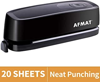 Electric Hole Punch, AFMAT 3 Hole Punch Heavy Duty, 20-Sheet Punch Capacity, AC or Battery Operated Paper Puncher, Effortless Punching, Long Lasting Paper Punch for Office School Studio, Black