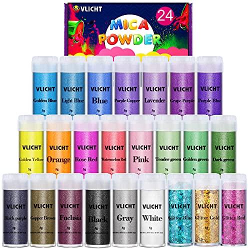VLICHT Coloranti Resina Epossidica, 5g*24 Pigmenti in Polvere di Mica Metallizzata Naturale per Sapone, Slime, Resina Epossidica, Candele, Acquerello, Cosmetici, DIY, Pittura e Feste