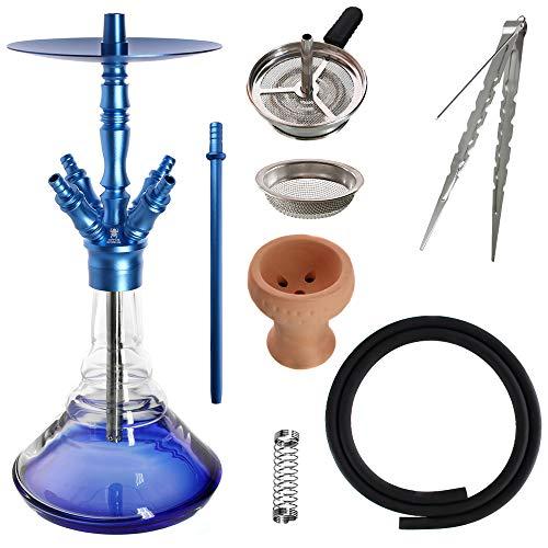 Kaya Shisha Elox Eco Giza - Aluminium Hookah 58cm mit 4 Anschlüssen und Zubehör (Blau)