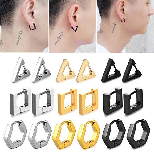 LessLIFE Orecchini, Orecchini a cerchio Huggie in Acciaio inossidabile Orecchini a Perno Triangolo Ear Piercing Studs-Triangolo Nero-Triángulo Negro