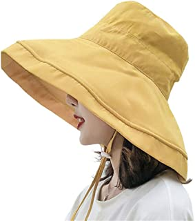 yelesley Women's Foldable Flap Cover UV Protective Wide Brim Bucket Cotton Beach Sun Hat Summer Hat