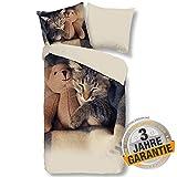 Aminata Kids Bettwäsche 135x200 Katzenmotiv + Kopfkissen 80 x 80 cm, Baumwolle mit Reißverschluss,...