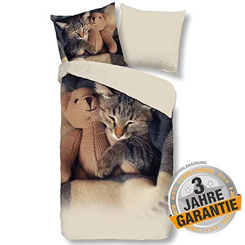Aminata Kids Bettwäsche 135x200 Katzenmotiv + Kopfkissen 80 x 80 cm, Baumwolle mit Reißverschluss, Kinderbettwäsche für Katzenfan ist kuschelig, beige, braun, Katzenbettwäsche, Katze, Katzen-Motiv