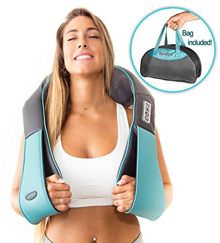 Shiatsu Back Shoulder and Neck Massager with Heat - Deep Tissue Kneading Pillow Massage for Neck, Back, Shoulders, Foot, Legs - Electric Full Body Massager - Stocking Stuffers Gift